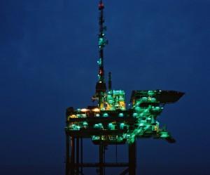 Groene verlichting booreiland